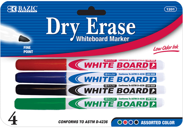 DRY ERASE MARKERS ASST. FINE PQT.4