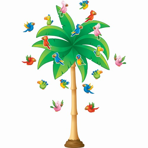 TROPICAL TREES BULLETIN BOARD DISPLAY SET 71 PC