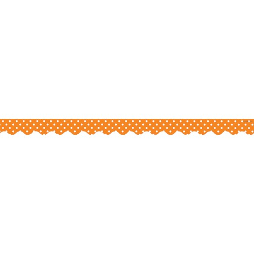ORANGE MINI POLKA DOTS SCALLOPED BORDER TRIM 12 PC