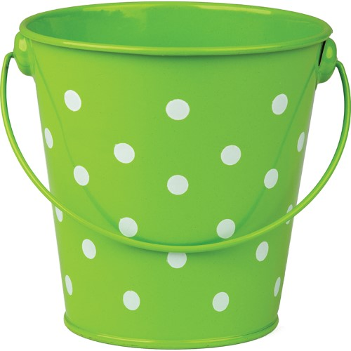 "LIME POLKA DOTS BUCKET 4-1/8"" WIDE AND 4-1/8"" HIGH"