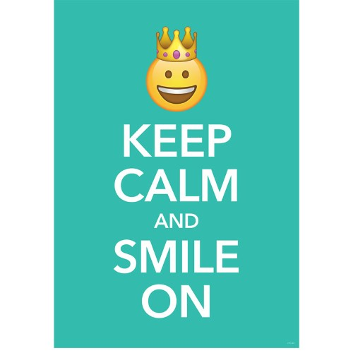 KEEP CALM AND SMILE ON EMOJI FUN INSPIRE POSTER