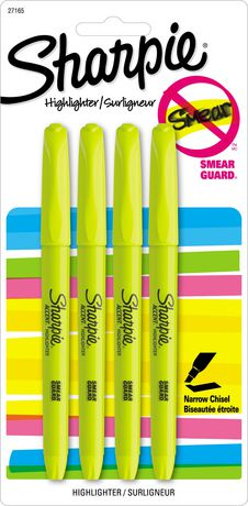 SHARPIE ACCENT HIGHLITER YELLOW PQT.4