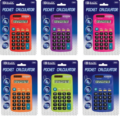 8 DIGIT DUAL POWER POCKET SIDE CALCULATOR