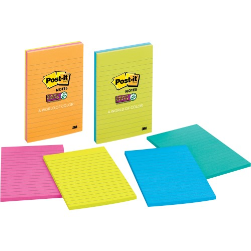 """SUPER STICKY NOTES LINED 4"""" X 6"""""""