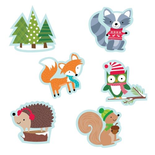 "WINTER WOODLAND FRIENDS 6"" DESIGNER CUT-OUTS 36 PC"