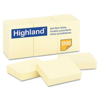 "HIGHLAND POST IT NOTE 1-1/2"" X 2"" YELLOW"