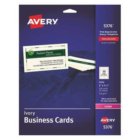 "BUSINESS CARD LASER 2"" X 3-1/4""  IVORY PQT.250"