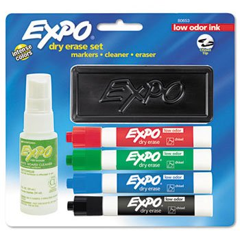 EXPO 2 MARKER LOW ODOR 4COLORES/BORRADOR/CLEANE