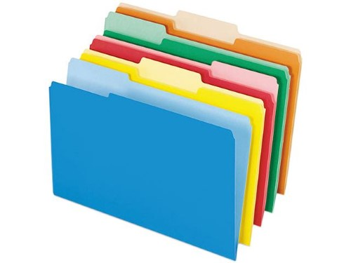 FOLDER INTERIOR LEGAL ASSORTED COLORS  BOX/100