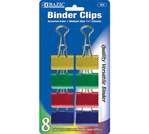 "BINDER CLIPS MEDIUM 1-1/4"" ASSORTED COLOR PQ.8"