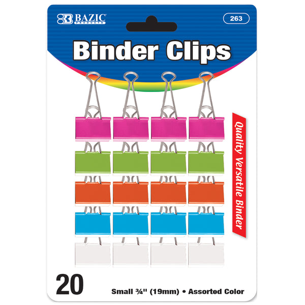 "BINDER CLIPS SMALL 3/4"" ASSORTED COLOR PQ.20"
