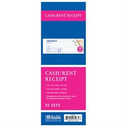 2 PART CARBONLESS CASH OR RENT RECEIPT