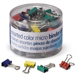 BINDER CLIPS MICRO ASSORTED COLORS PQ.100