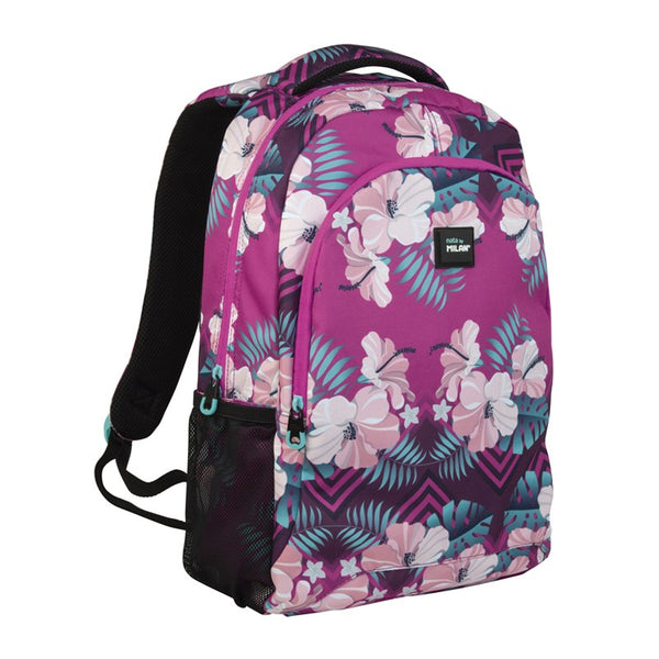 LARGE BACKPACK FORAL HIBISCUS PINK