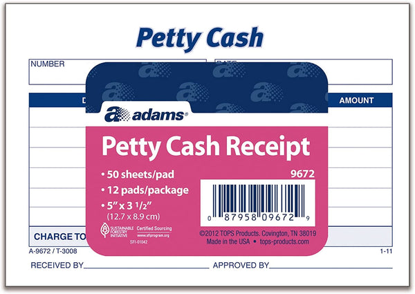 "PETTY CASH RECEIPT 5"" X 3"" PQT.12"