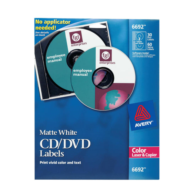 CD/DVD LABEL 30 DISC AND 60 SPINE WHITE PQ.30