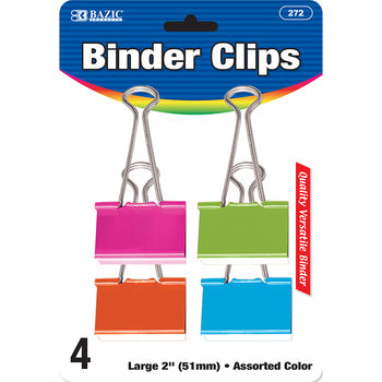"BINDER CLIP LARGE 2"" ASSORTED COLOR PQ.4"