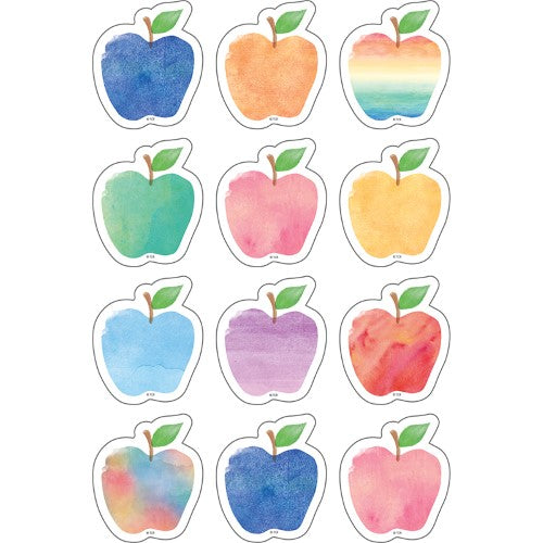 WATERCOLOR APPLES MINI ACCENTS 10 COLORS 36 PC