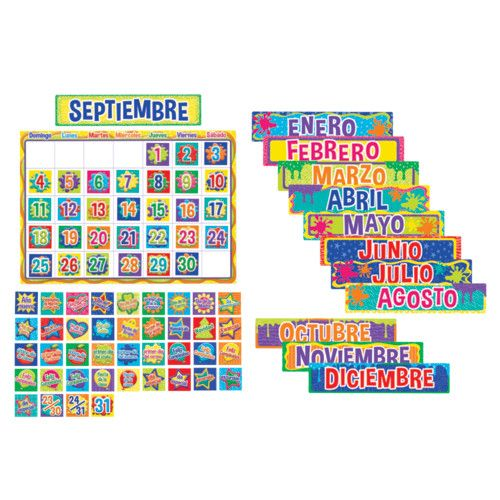 COLOR MY WORLD SPANISH CALENDAR BULLETIN BOARD