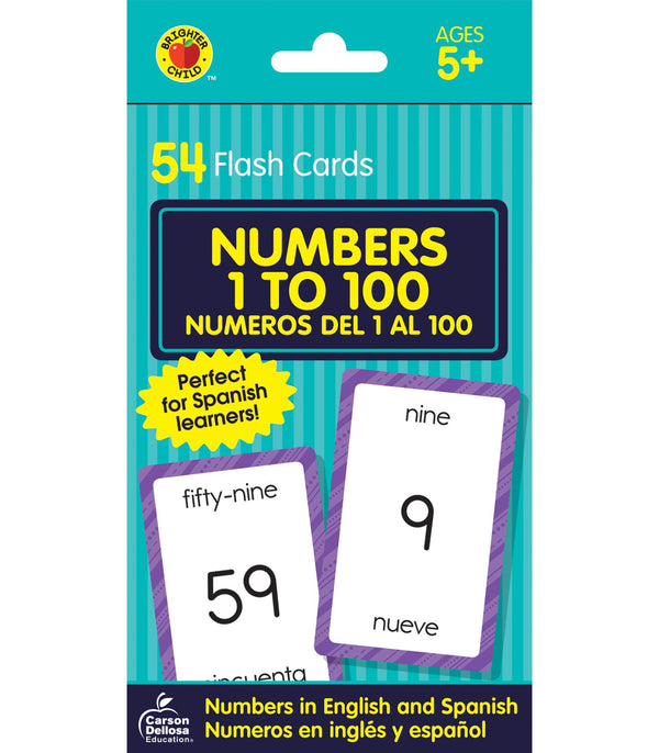 NUMBERS 1 TO 100 FLASH CARDS BILINGUE 54 PC