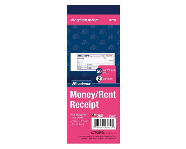 "MONEY/RENT RECEIPT BOOK NCR 2PT 2"" X 7"""