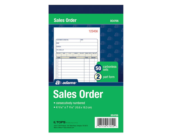 "SALES ORDER BOOK NCR 2PT 4"" X 7"""