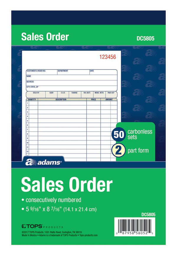 "SALES ORDER BOOK NCR 2PT 5"" X 8"""