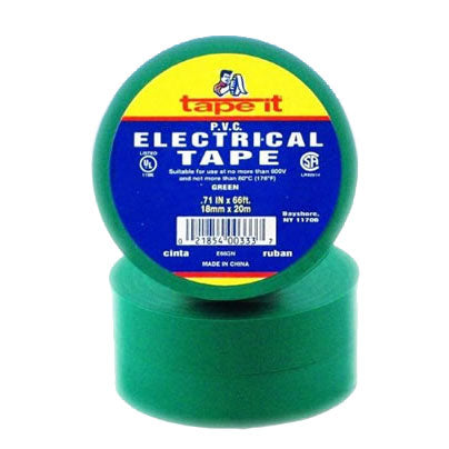 TAPE ELECTRICO VERDE 3/4 X 66 FT.
