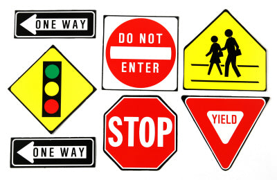 2-SIDED DECORATING KIT TRAFFIC SYMBOLS 7 PCS