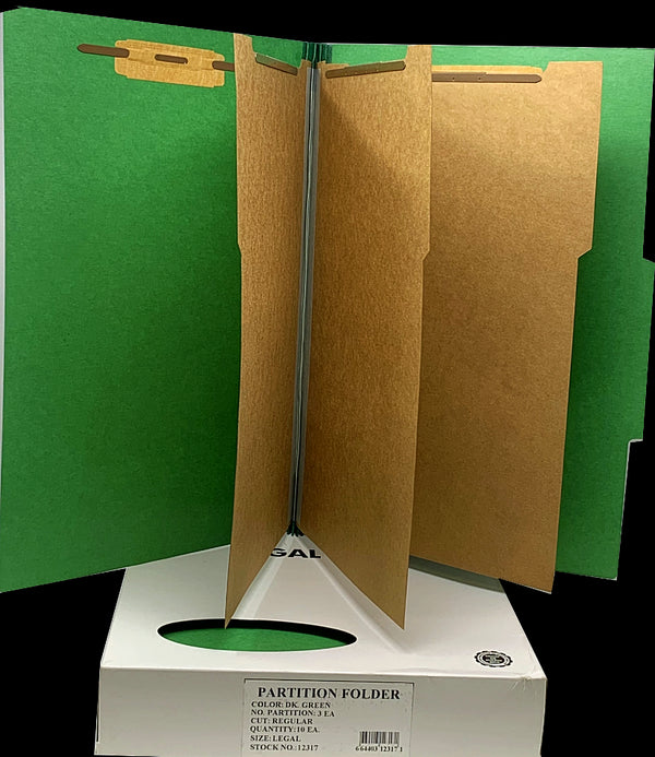 3 PARTITION FOLDER DK. GREEN LEGAL BOX/10