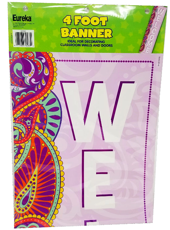 POSITIVELY PAISLEY WELCOME VERTICAL BANNER 12X45''