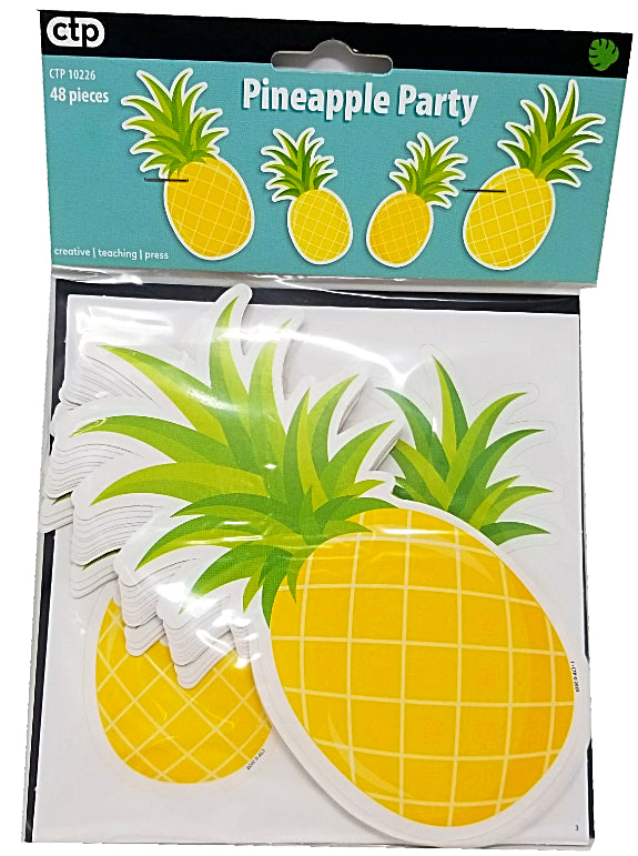 PALM PARADISE PINEAPPLE PARTY CUT-OUTS 6 IN 36PCS