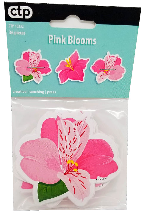 PALM PARADISE PINK BLOOMS CUT-OUTS 3IN 36PCS