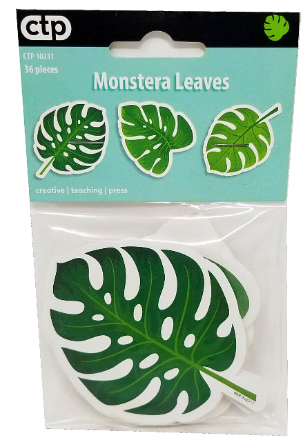 PALM PARADISE MONSTERA LEAVES CUT OUT 3IN 36PCS