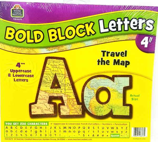 TRAVEL THE MAP BOLD LETTER 4'' 230PCS