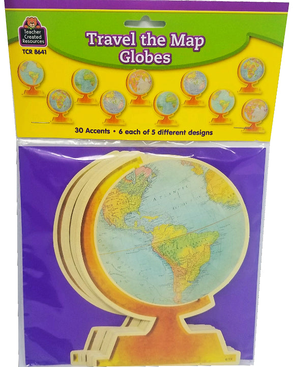 TRAVEL THE MAP GLOBES ACCENTS 30PCS