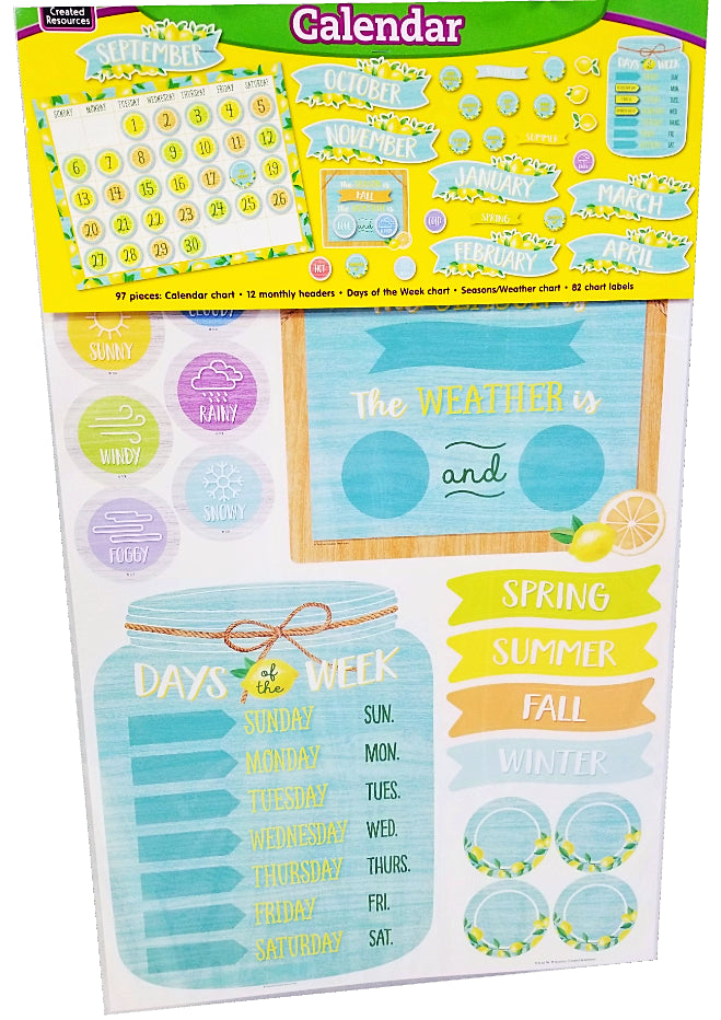 LEMON ZEST CALENDAR BULLETIN BOARD SET 97PCS