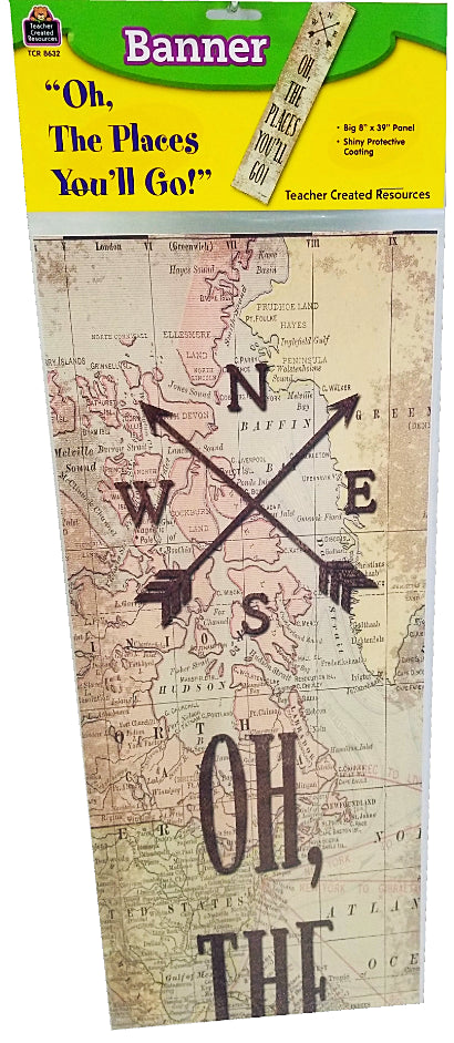 TRAVEL THE MAP OH, THE PLACES BANNER 8''X39''