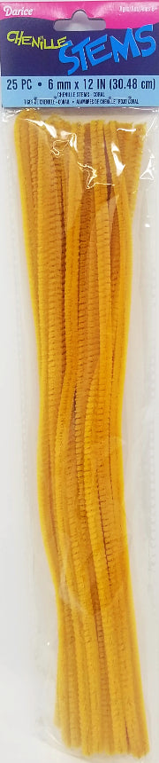 6MM X 12IN. CHENILLE DK GOLD 25 PC
