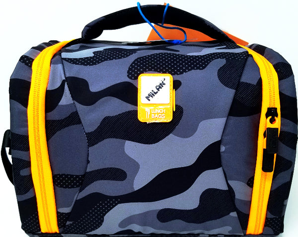 LUNCH BAG CAMOUFLAGE BLACK AND ORANGE