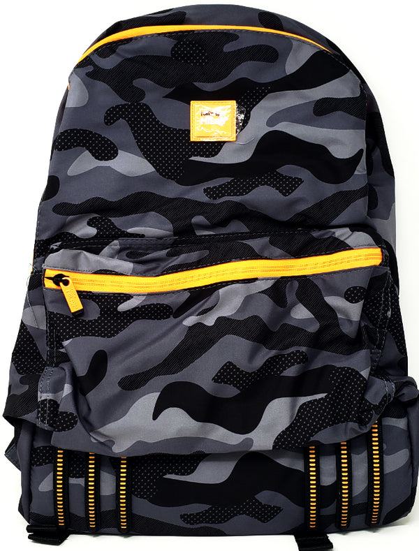 LARGE BACKPACK CAMOUFLAGE BLACK AND ORANGE