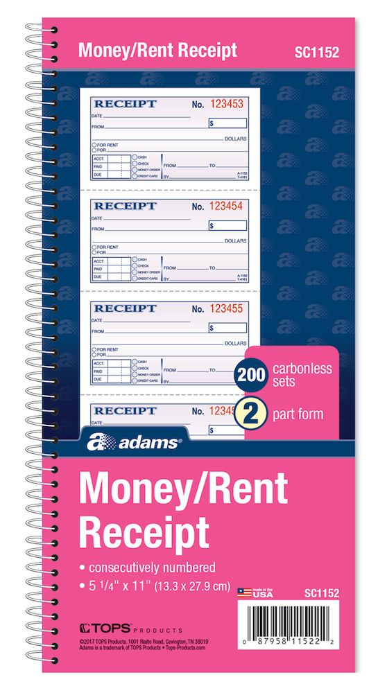 "MONEY/RENT RECEIPT BOOK NCR 2PT 200 SET 5"" X 11"""