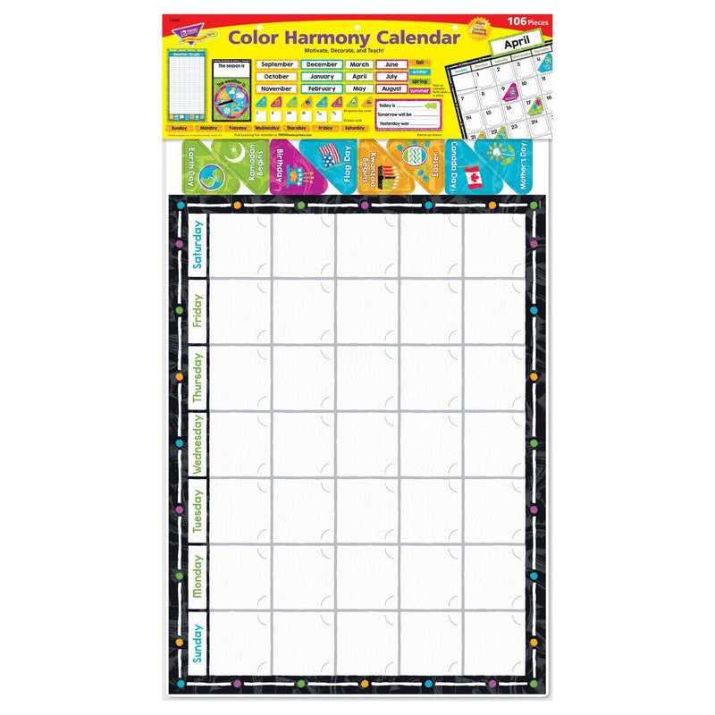 COLOR HARMONY CALENDAR BULLETIN BOARD