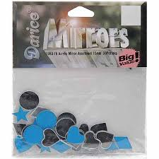 ACRYLIC MIRRORS 15 MM ASSORTED SHAPES 30/PK