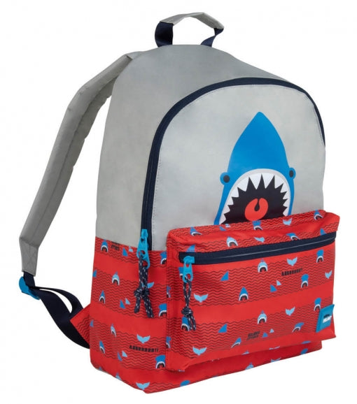 LARGE BACKPACK SHARK BLUE-GREY-RED