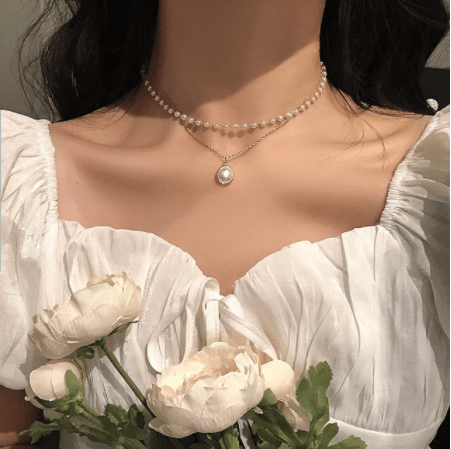 【即納】pearl gold necklace