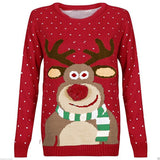 Funny Rudolph Christmas Sweater with 3D Nose (Red)