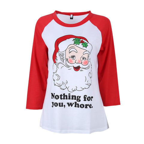 Funny Santa White T-Shirt with Red Sleeves