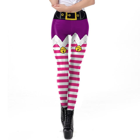 Elf Skirt Christmas Theme Print Leggings (Purple)