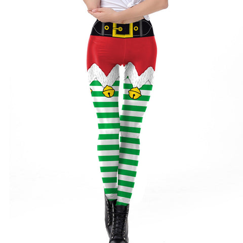 Elf Skirt Christmas Theme Print Leggings (Red shorts with Green socks)